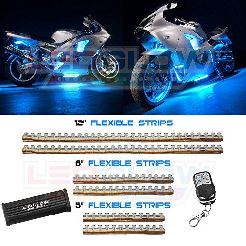 6Pc Ice Blue Led Flexible Motorcycle Lighting Kit