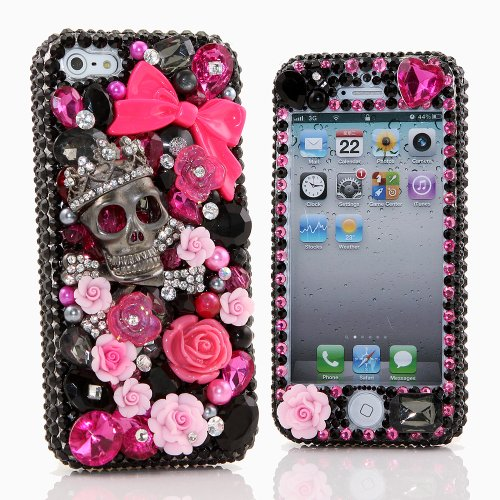 Special Sale BlingAngels® 3D Luxury Bling iphone 5 5s Case Cover Faceplate Swarovski Crystals Diamond Sparkle bedazzled jeweled Design Front & Back Snap-on Hard Case + FREE Premium Quality Stylus and Water-Resistant Bag (100% Handcrafted by BlingAngels) (Skull with Large Pink Bow Design)