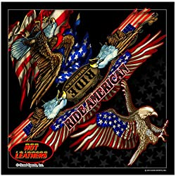 """Hot Leathers Signature Bikers Bandanas Collection Original Design, 21"""" x 21"""" - BANDANA ATTACK EAGLE, """"Ride American"""" from Officially Licensed & Trademarked Products"""