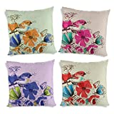 ShopMantra Bird And Flowers Printed Cushion Cover Set Of 4 16*16 Inch Multicolor Cushion Cover