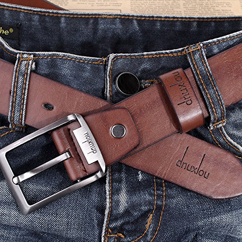 mens-waistband-leather-belts-trousers-pin-buckle-waist-strap-fashion-100-brand-new-brown
