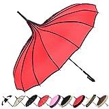 Outgeek Vintage Parasol Umbrella Sunshade Stick Umbrella Hook Handle Photo Props (Color: B-red)