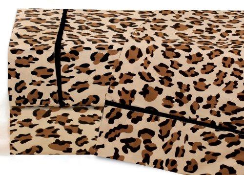 Queen Leopard Print Cotton Sheet Set front-480046