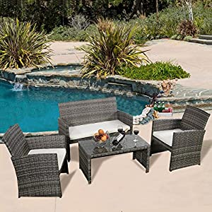 GHP Outdoor Garden Patio 4-Piece Cushioned Seat Mix Gray Wicker Sofa Furniture Set