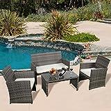 Giantex 4 Pc Rattan Patio Furniture Set Garden Lawn Sofa Cushioned Seat Mix Gray Wicker