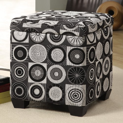 Grey / Black Kaleidoscope Fabric Storage Ottoman