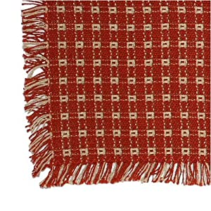 62 x 90 (Oval) Homespun Tablecloth, Hand Loomed, 100% Cotton, Made in USA, Cinnamon/Stone