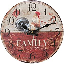 Cream/Red Rooster Wall Clock by HomeTime