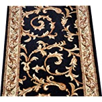 Dean Black Scrollworks Custom Length Carpet Rug Hallway Stair Runner - Purchase by the Linear Foot