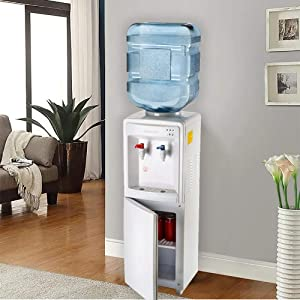 Farberware FW29919 Freestanding Hot and Cold Water Cooler Dispenser - Top Loading Freestanding Water Dispenser with Storage Cabinet, White (Color: White)