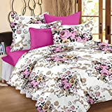 Story@Home 100% Cotton Floral Print Trendy Premium Elegant Double Bedsheets with 2 Pillow Covers, Pink, White