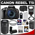 Canon EOS Rebel T5i Digital SLR Camera & 18-135mm IS STM & 55-250mm IS STM Lens with 64GB Card + Battery + Case + Flash + Grip + Filters Kit