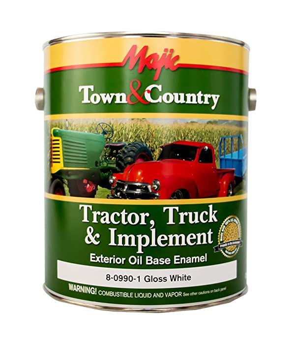 Majic Paints 8-0990-1 Town & Country Tractor, Truck & Implement Oil Base Enamel Paint, 1-Gallon, White (Color: White, Tamaño: Gallon)