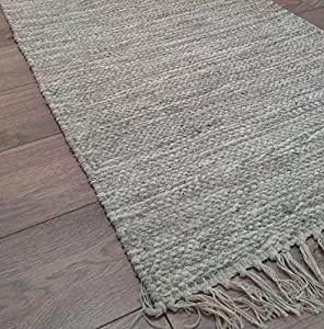 Hand Loomed Cotton Yarn India Rug in Light Stone Mottled Grey 60cm x 90cm (Second Nature) from Second Nature Online