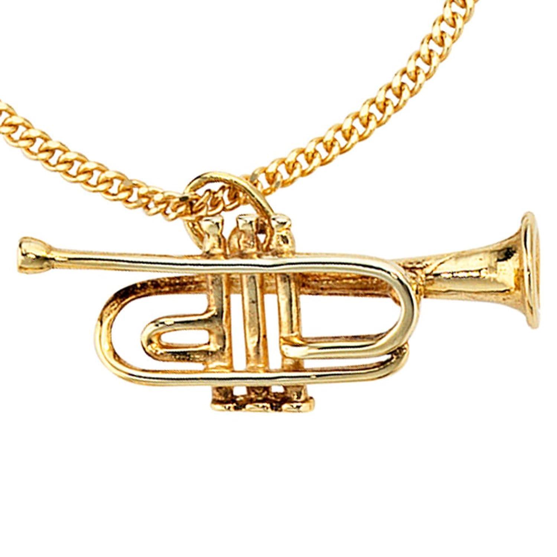 Damen Gold Anhänger Trompete 333 Gold Gelbgold Musik schenken