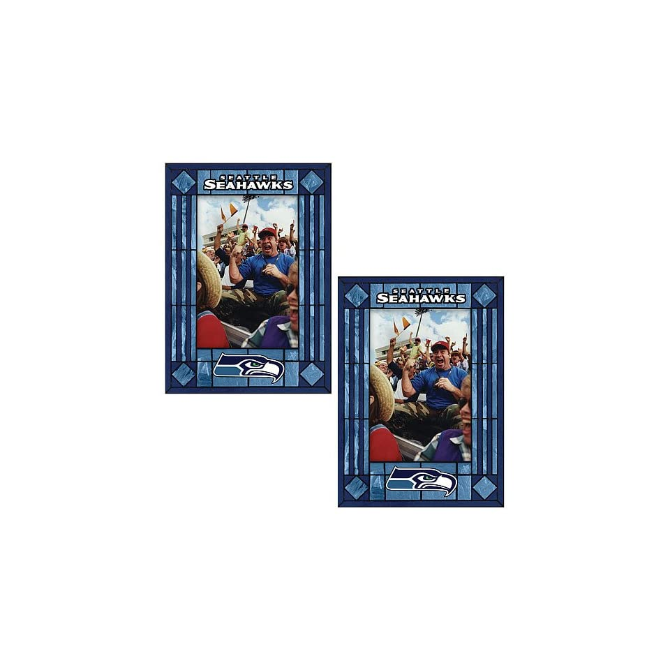 Memory Company Seattle Seahawks Art Glass Vertical Frames   set of 2