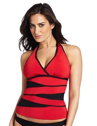 JAG Women's Swimwear Mesh Attack No Worries Tankini, Red, 34 6D2