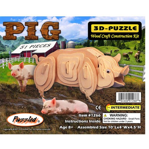 Puzzled Pig 3d Natural Wood Puzzle - 1