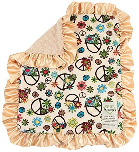 """My Blankee Peace Flower Minky Beige w/ Minky Dot Latte Baby Blanket, 14"""" x 17"""""""