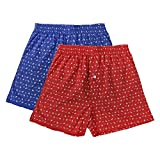 The Cotton Company Men's Boxer Shorts with Nautical Print (Pack of 2) - Blue & Red - XL