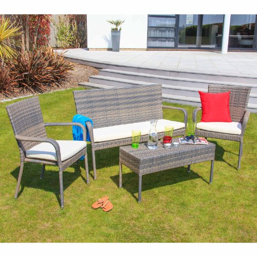 Cozy Bay® Winchester 4-Seater Rattan Furniture Garden Conservatory Deep Seating Set