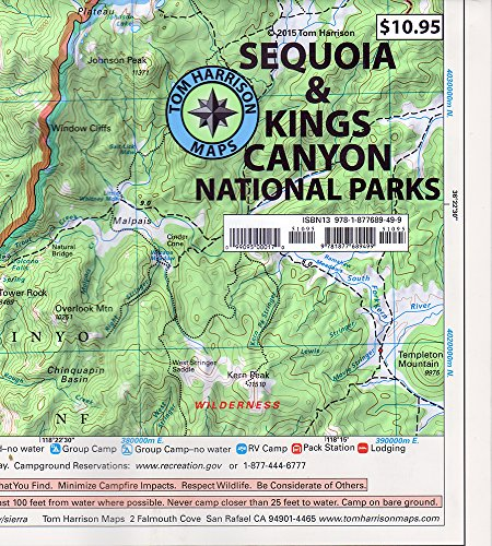 Sequoia & Kings Canyon National parks recreation map (Tom Harrison Maps)