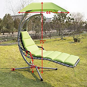 Sliverylake Outdoor Garden Hanging Arc Stand Hammock Swing Chaise Lounger Chair With Canopy