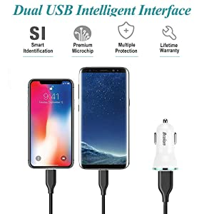 Car Charger[2 Pack],Bralon 12W 2.4A Dual USB Car Charger Adapter with Smart ID Compatible for iPhone X/8/7/6/SE/Plus, iPad Pro/Air 2/Mini, Galaxy S9 S