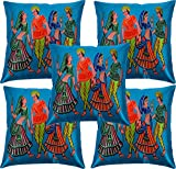 Paramount Art Satin 5 Piece Cushion Cover Set - 16'' x 16'', Multicolor