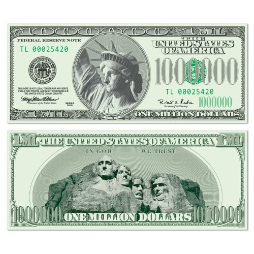 Beistle 54316 24-Pack Big Bucks Cutout Dollar 10000 Bill Party Decoration, 7-1/2-Inch By 17-1/2-Inch