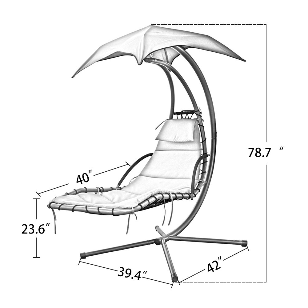 PatioPost Outdoor Hanging Chaise Lounger Chair Swing Hammock Arc Stand Air Porch Canopy, Green