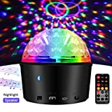 Exulight Disco Crystal Magic Ball Light,Bluetooth Speaker Strobe Party Lights,USB Powered Night Lamp,9 Colors LED Sound Activated Projector with Remote Control for Stage Lighting (Non-Rechargeable) (Tamaño: Non-rechargeable)