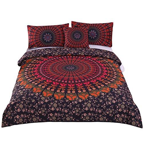 sleepwish 4pcs Mandala Hippie nascosto Copriletto Bohemian Bedding Set copripiumino singolo, matrimoniale, king size, Cotone, King