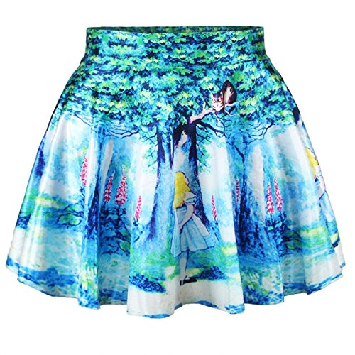 Women Girls Digital Print Stretchy Flared Pleated Casual Mini Skirt