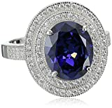 Charles Winston, Sterling Silver, Tanzanite CZ & White Cubic Zirconia Ring, 4.90 ct. tw.