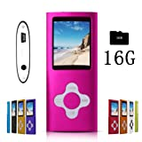 G.G.Martinsen Pink Stylish MP3/MP4 Player with a 16GB Micro SD Card, Support Photo Viewer, Mini USB Port 1.8 LCD, Digital Music Player, Media Player, MP3 Player, MP4 Player