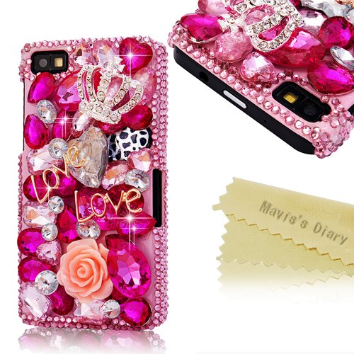 Mavis'S Diary 3D Handmade Crystal Butterfly Crown Cross Love-Line Rhinestone Dimond Disign Case Pink Cover With Soft Clean Cloth (Blackberry Z10, Love)