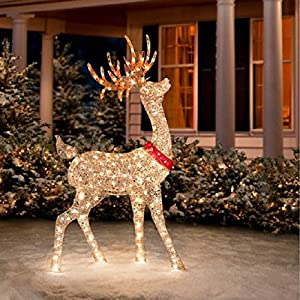 Glittering champagne buck reindeer holiday for Amazon christmas lawn decorations