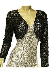 Alivila.Y Fashion Mesh Sequins Long Sleeve Bolero Shrug Jacket 3051