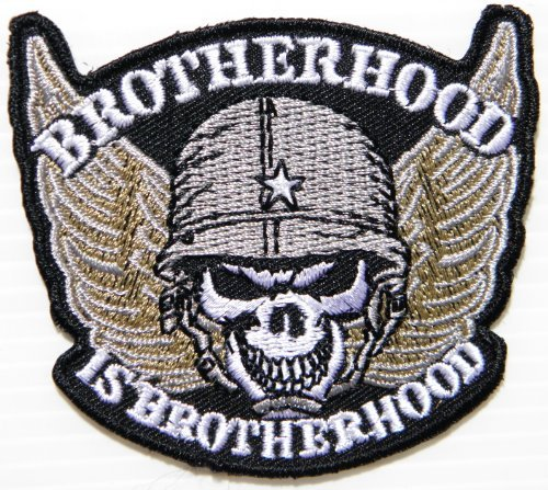 BORTHERHOOD Skull Ghost Military Army Veteran Biker Jacket T-Shirt Embroidered Sew Iron on Patch,Size 3 inch x 2.75 inch