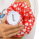 NEOtech Care Ice Bag for injuries & reduce swelling, Cold Pack screw top lid, 9 inch diameter size, hearts design