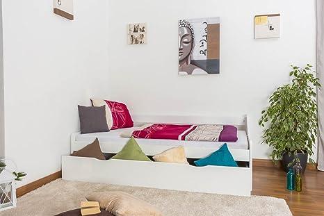 Tagesbett / Funktionsbett Kiefer massiv Vollholz weiß lackiert 93, inkl. Lattenrost - Abmessung 90 x 200 cm