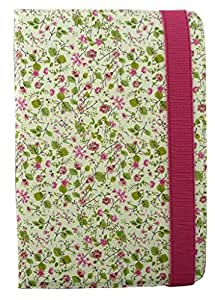 Emartbuy® Universal Range Pink/Green Floral Multi Angle Executive Folio Wallet Case Cover For Celkon 4G Tab-7 7 Inch Tablet