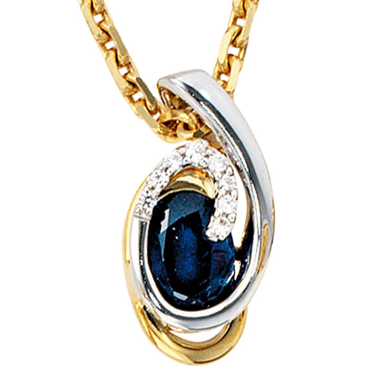 Schmuck Damen Anhänger Gelbgold Weissgold kombiniert mit Safir und Diamant Brillanten Höhe ca. 15,9 mm, Breite ca. 7,7 mm günstig kaufen