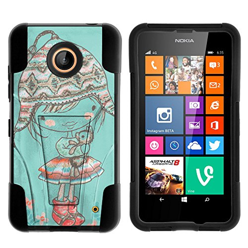 Nokia Lumia 635 Case, Nokia Lumia 630 Case, Durable Hybrid STRIKE Impact Kickstand Case with Art Pattern Designs for Nokia Lumia 635, 630 (AT&T, Sprint, T Mobile, Cricket, Virgin Mobile, Boost Mobile, MetroPCS) from MINITURTLE | Includes Clear Screen Protector and Stylus Pen - Winter Beanie Girl (Nokia Lumia 635 Boost Mobile compare prices)