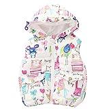 ASHERANGEL Little Girls Cartoon Scrawl Printed Hooded Vest Zipper Outerwear White 6T