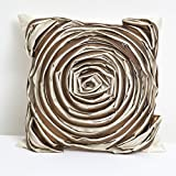 A S Traders Big Flower Cushion Cover Double Lined of Polysilk & PolyShimmer Stitched together (40 Cm x 40 Cm,...