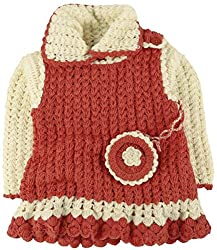 Snuggles Camisole Strapped Dress with Shrug and Coin bag crochet set - Peach/Ecru (2-3Y)
