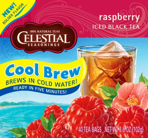 Celestial Seasonings Ice Cool Brew Iced Tea, Raspberry, 40-Count Tea Bags (Pack of 6)