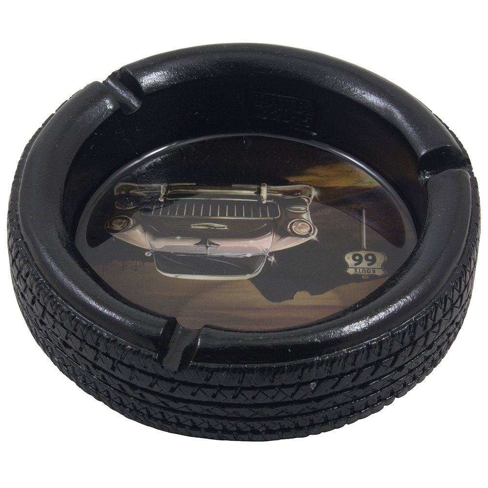 Car Tire Ashtray with Elvis Presley's Pink Cadillac on Route 66 for Vintage Auto Mechanics Shop or Retro Roadhouse Table Decor As Classic Father's Day Gifts for Dad 2